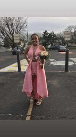 Queenly size 4 Rachel Allan Pink Jumpsuit evening gown/formal dress
