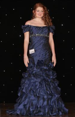 Jovani Blue Size 8 Belt Mermaid Dress on Queenly