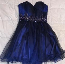B. Darlin Blue Size 4 Strapless Sweetheart A-line Dress on Queenly