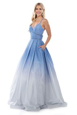 Style 1480 Nina Canacci Blue Size 14 Plus Size Ombre Prom Ball gown on Queenly