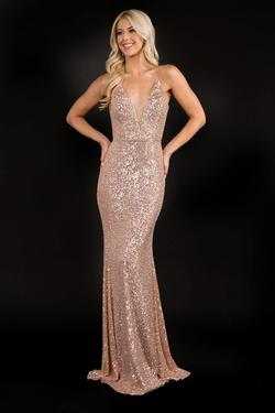 Style 1516 Nina Canacci Gold Size 6 Corset Tall Height Straight Dress on Queenly