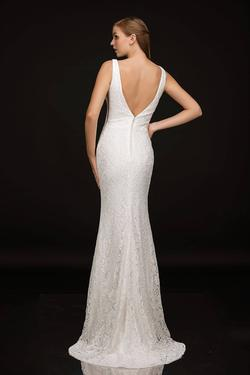 Style 2229 Nina Canacci White Size 18 Plunge Ivory Straight Dress on Queenly