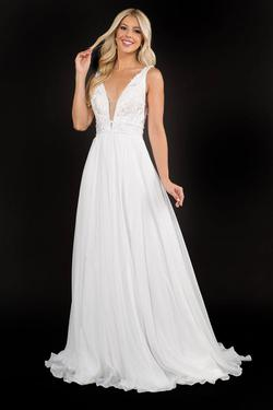 Style 2205 Nina Canacci White Size 12 Backless Train Tall Height Lace A-line Dress on Queenly