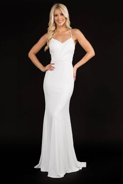 Style 2285 Nina Canacci White Size 12 Wedding Tall Height Straight Dress on Queenly