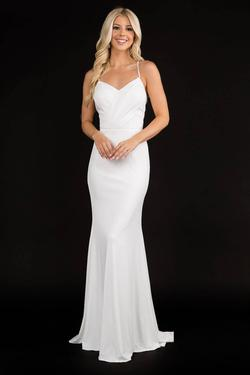 Queenly size 14 Nina Canacci White Straight evening gown/formal dress