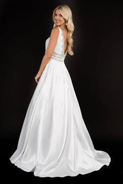 Style 2290 Nina Canacci White Size 0 Plunge Pageant Ball gown on Queenly