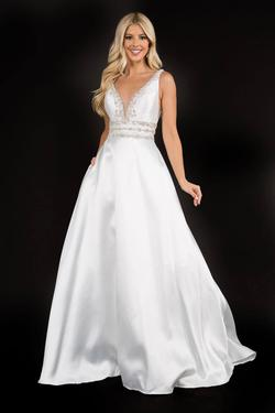 Style 2290 Nina Canacci White Size 2 Plunge Pageant Ball gown on Queenly