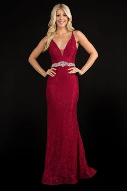 Style 2295 Nina Canacci Red Size 8 Belt Backless Tall Height Straight Dress on Queenly