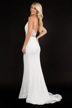 Style 2299 Nina Canacci White Size 10 Belt Tall Height Lace Mermaid Dress on Queenly