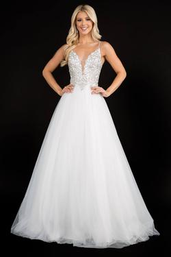 Style 3166 Nina Canacci White Size 2 Plunge Ball gown on Queenly