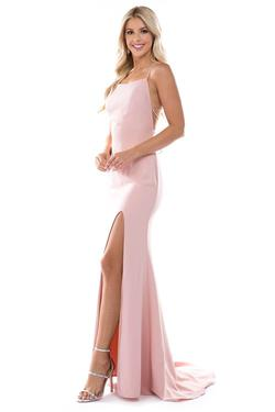 Style 6547 Nina Canacci Pink Size 2 Tall Height Side slit Dress on Queenly