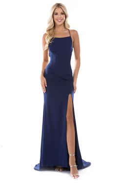 Style 6547 Nina Canacci Blue Size 8 Tall Height Side slit Dress on Queenly