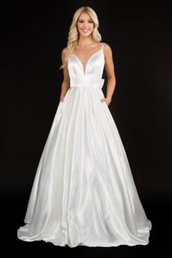 Style 6549 Nina Canacci White Size 8 Pageant Tall Height Ball gown on Queenly