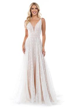 Style 6553 Nina Canacci White Size 4 Nude Tall Height Lace A-line Dress on Queenly