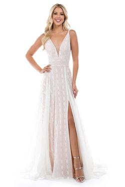 Style 6553 Nina Canacci White Size 12 Nude Backless Tall Height Lace A-line Dress on Queenly