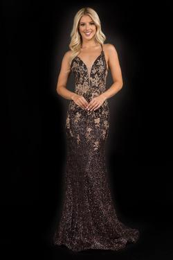 Style 8195 Nina Canacci Black Size 10 Gold Pattern Prom Mermaid Dress on Queenly