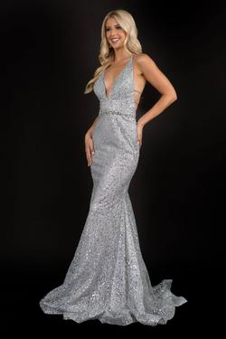 Style 8197 Nina Canacci Silver Size 10 Plunge Pageant Mermaid Dress on Queenly