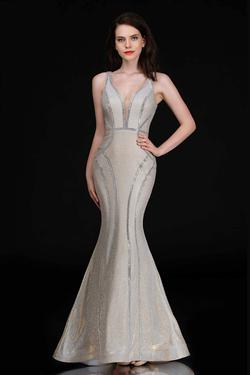 Style 1471 Nina Canacci Gold Size 4 Backless Tall Height Mermaid Dress on Queenly