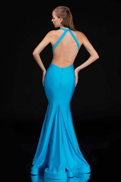 Style 1475 Nina Canacci Blue Size 6 Halter Tall Height Mermaid Dress on Queenly