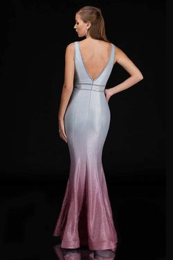 Style 1481 Nina Canacci Pink Size 4 Plunge Silver Pageant Mermaid Dress on Queenly