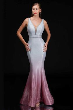 Style 1481 Nina Canacci Pink Size 12 Plunge Silver Pageant Mermaid Dress on Queenly