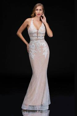 Style 1487 Nina Canacci White Size 4 Nude Corset Tall Height Mermaid Dress on Queenly