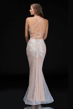 Style 1487 Nina Canacci White Size 10 Nude Corset Tall Height Mermaid Dress on Queenly