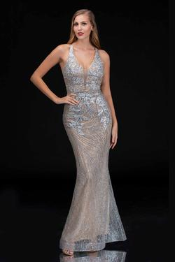 Style 1487 Nina Canacci Silver Size 8 Corset Tall Height Mermaid Dress on Queenly