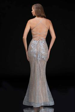 Style 1487 Nina Canacci Silver Size 10 Corset Tall Height Mermaid Dress on Queenly