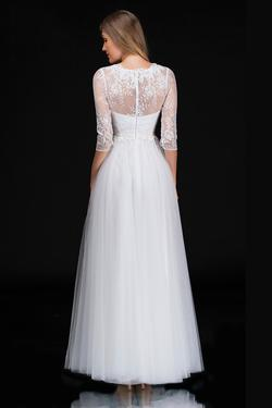 Style 1501 Nina Canacci White Size 12 Wedding Tall Height Lace A-line Dress on Queenly