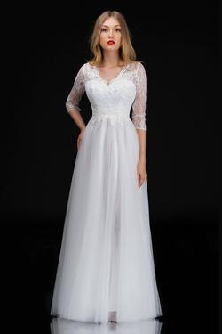 Style 1501 Nina Canacci White Size 14 Tall Height Lace A-line Dress on Queenly