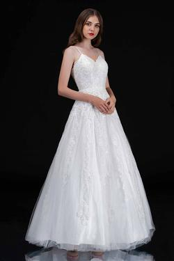 Style 1508 Nina Canacci White Size 4 Tall Height Lace A-line Dress on Queenly