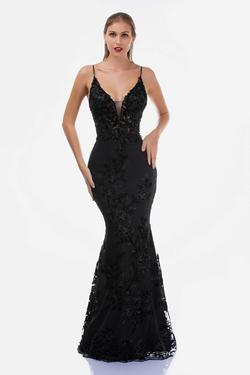 Style 2240 Nina Canacci Black Size 16 Plunge Pageant Mermaid Dress on Queenly