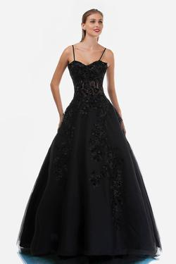 Style 2245 Nina Canacci Black Size 10 Sweetheart Tall Height Lace Ball gown on Queenly