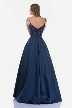 Style 2250 Nina Canacci Blue Size 4 Tall Height Lace Ball gown on Queenly