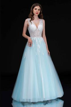 Style 2252 Nina Canacci Blue Size 16 Corset Tall Height Lace Ball gown on Queenly