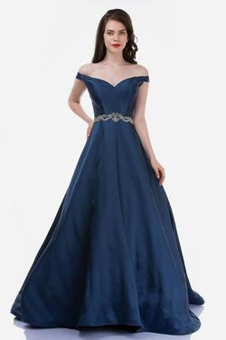 Style 2258 Nina Canacci Blue Size 8 Tall Height Ball gown on Queenly