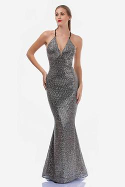 Style 2274 Nina Canacci Silver Size 4 Corset Halter Tall Height Mermaid Dress on Queenly