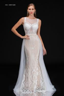 Style 4191 Nina Canacci White Size 4 Train Tall Height Lace Straight Dress on Queenly