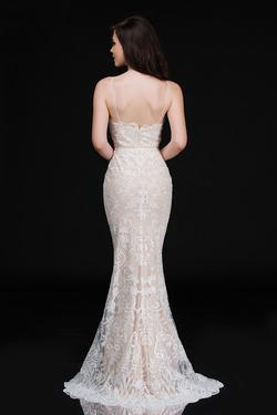 Style 4201 Nina Canacci White Size 8 Tall Height Lace Mermaid Dress on Queenly