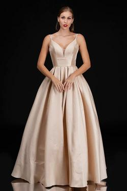 Style 5140 Nina Canacci Gold Size 8 Plunge Tall Height Ball gown on Queenly