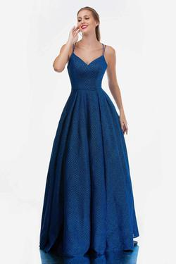 Style 5144 Nina Canacci Blue Size 4 Corset Tall Height A-line Dress on Queenly