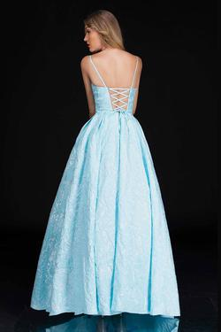Style 6522 Nina Canacci Blue Size 14 Corset Tall Height A-line Dress on Queenly
