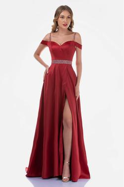 Queenly size 12 Nina Canacci Red Side slit evening gown/formal dress