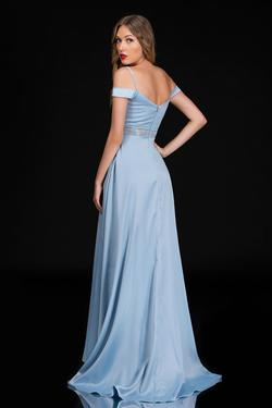 Style 6536 Nina Canacci Light Blue Size 16 Side slit Dress on Queenly