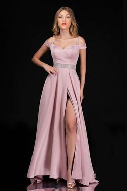 Queenly size 12 Nina Canacci Pink Side slit evening gown/formal dress