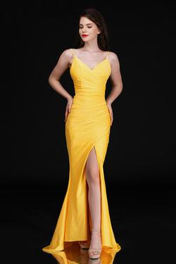 Style 6539 Nina Canacci Yellow Size 12 Backless Plunge Side slit Dress on Queenly