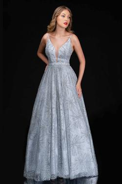 Style 6541 Nina Canacci Silver Size 10 Plunge Tall Height A-line Dress on Queenly