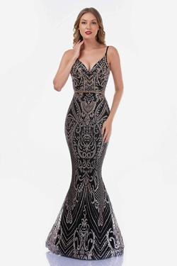Style 8173 Nina Canacci Black Size 6 Gold Pageant Mermaid Dress on Queenly