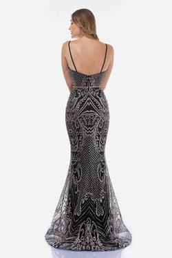 Style 8173 Nina Canacci Black Size 10 Gold Pattern Prom Mermaid Dress on Queenly